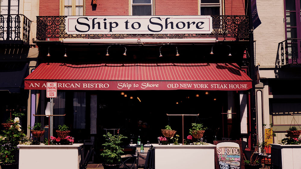 ship to shore front of restaurant