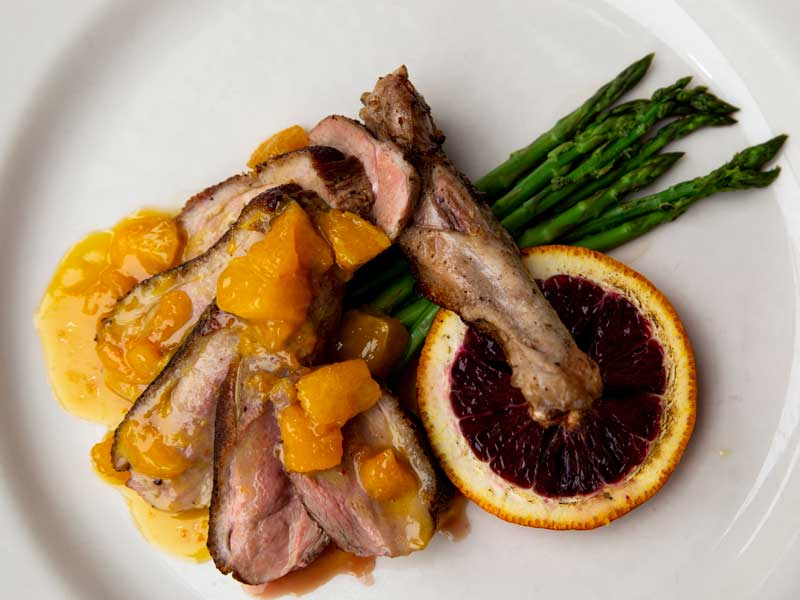 overhead view of duck dish