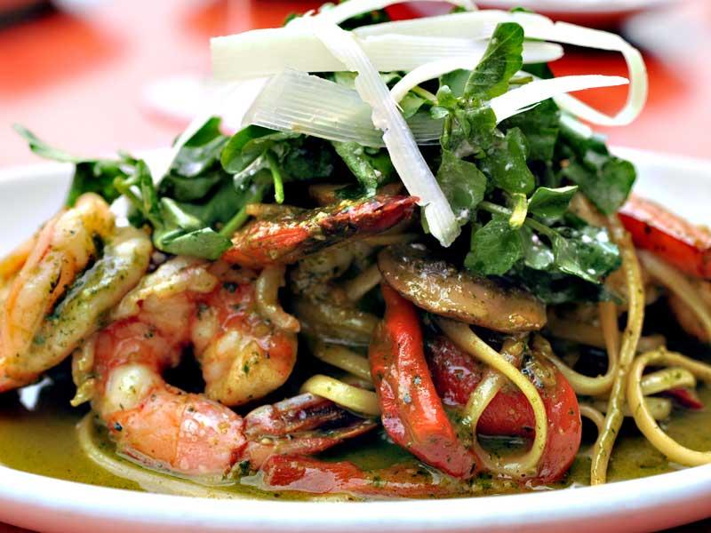 linguini basil pesto shrimp plate