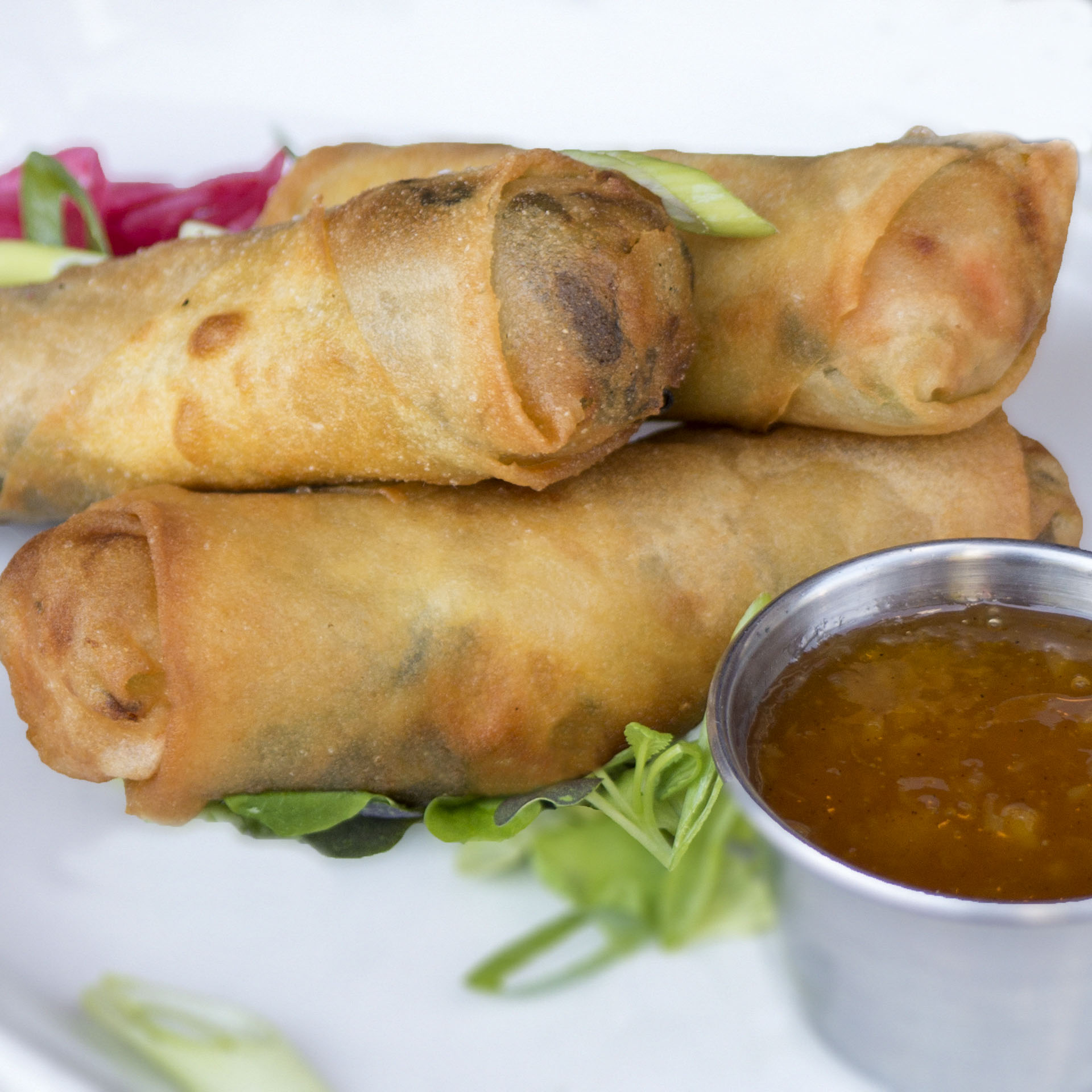 Spring rolls on top of greens with dipping suace