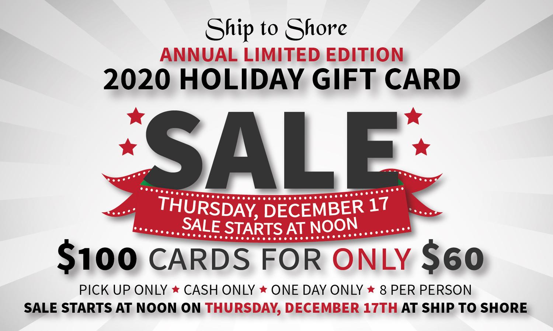 Holiday Gift Card Sale, Thursday November 17, starts at Noon